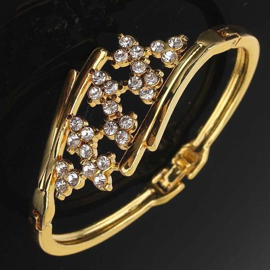 other New 18k Yellow Gold Filled Blossom Austrian Crystal Bracelet Bangle Image 3