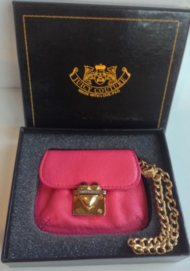 Juicy Couture Juicy Couture Pink Leather Coin Size Mini Wristlet