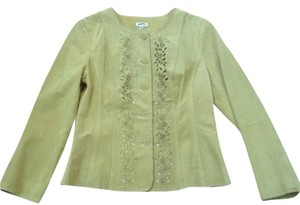 J. Jill Lace Leather Cutouts Suede Citrine Green Spring Green Citrine Leather Jacket