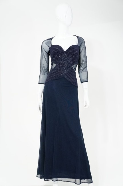 Tadashi Sequin Sheer Tulle Mesh Cutout Full Length Long Sleeve Gown Dress Image 1