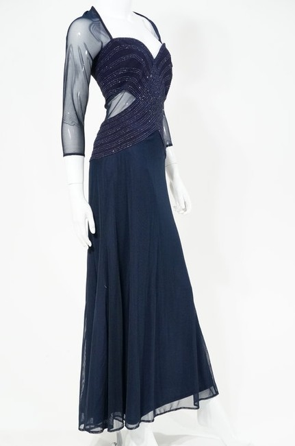 Tadashi Sequin Sheer Tulle Mesh Cutout Full Length Long Sleeve Gown Dress Image 2