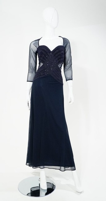 Tadashi Sequin Sheer Tulle Mesh Cutout Full Length Long Sleeve Gown Dress Image 3