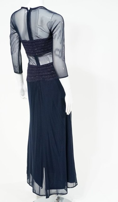 Tadashi Sequin Sheer Tulle Mesh Cutout Full Length Long Sleeve Gown Dress Image 4