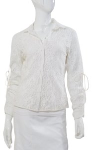 Elie Tahari Medium Crochet Eyelet Lace Button Down Shirt white Ivory Cream
