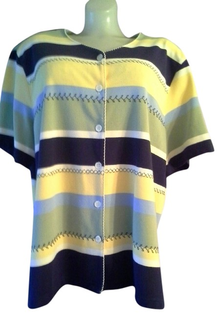Alfred Dunner Short Sleeve Plus-size Button Down Shirt Multi Color