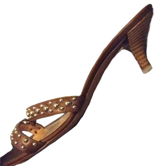 Sergio Rossi Kitten Heel Studded Strappy Camel Sandals