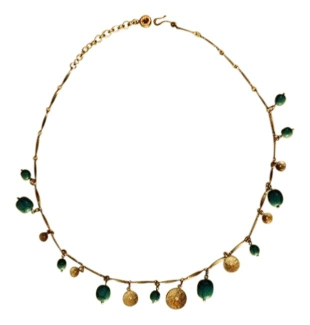 Item - Gold Tone & Green Necklace