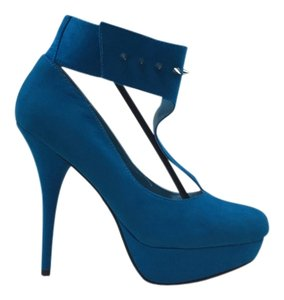Heels Spikes Blue Turquoise Pumps