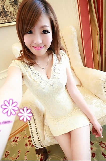Other Clubbing Clubbing Cocktail Party Silk Lace Silky Laced Diamond Collar See-through V Neck Low Neck Deep V Dress