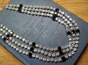 Vintage Crystal 50's Deco Style Rhinestone 3 Row Wedding Bridal Necklace