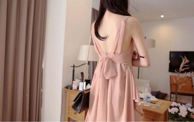 Other short dress Dusty Pink Summer Chiffon Cocktail Night Out Night Out Sleeveless Show Off Back Back Showing Cute Cute Pretty Chiffon V on Tradesy