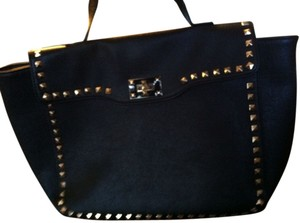 Forever 21 Satchel in Black / Gold Studs