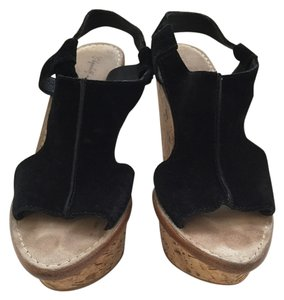 Elizabeth and James Black Suede Wedges