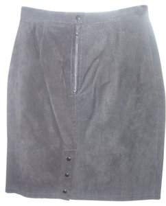 PB Martin Black Leather Black Suede Skirt