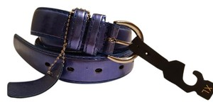 Metallic Blue Faux Leather Belt XL 43