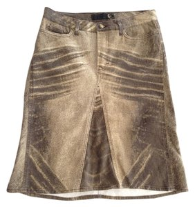 Just Cavalli Distressed Mini Skirt Gold