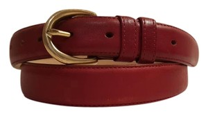 Vintage Oxblood Red Leather Belt with Gold Tone Buckle 38 Vintage Oxblood Red Leather Belt with Gold Tone Buckle 38