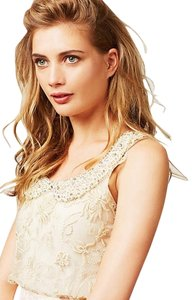Anthropologie Moulinette Soeurs Lace Vintage Pearls Top Champagne
