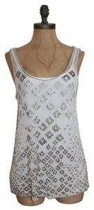 Matty M Beaded Mesh Top WHITE