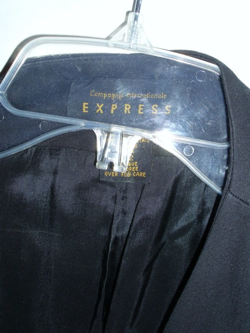 Express Black Jacket Black Double Breasted Long Jacket Fitted Jacket Blazer Image 2