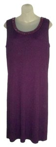 Adrienne Vittadini Jewel Neckline Luxury Knit Sweater Dress