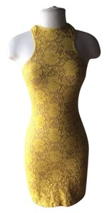 Dress the Population Bodycon Lace Yellow Micro-mini Racer-back Dress
