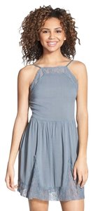 Free People short dress VAPOR BLUE Lace Slip Inset on Tradesy