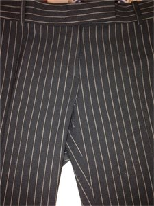 Michael Kors Wool Tan Straight Pants Black with Nude Striping