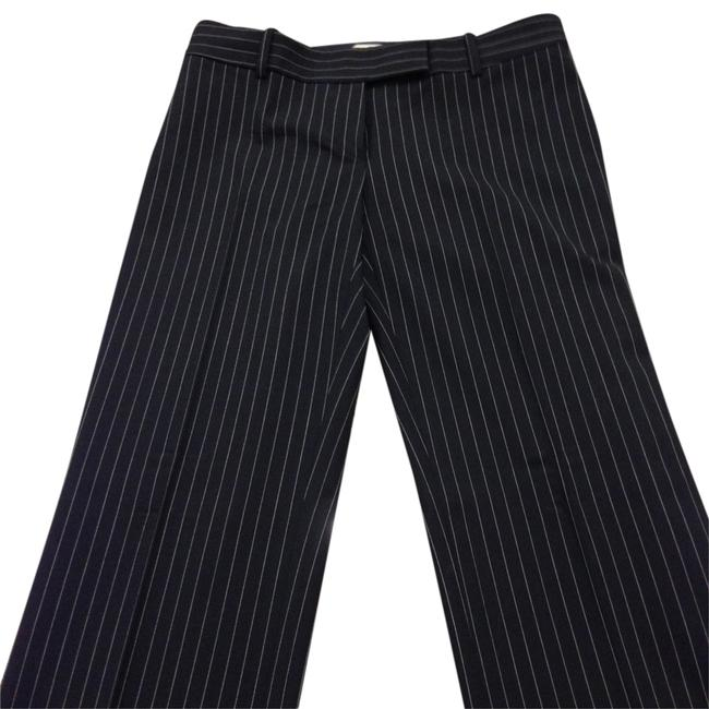 Michael Kors Wool Tan Straight Pants Black with Nude Striping Image 1