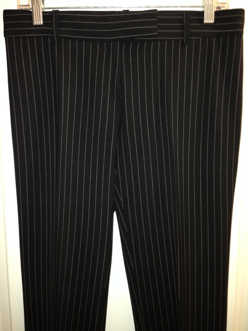 Michael Kors Wool Tan Straight Pants Black with Nude Striping Image 7