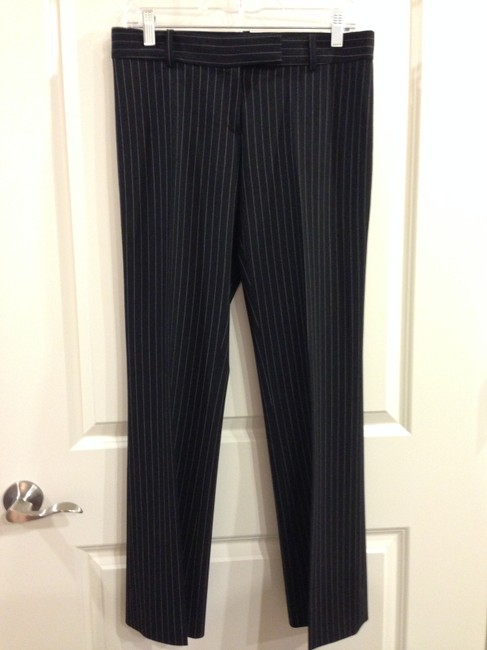 Michael Kors Wool Tan Straight Pants Black with Nude Striping Image 8