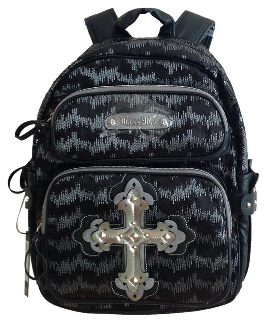 Item - Stacked Cross Sequin Laptop/Tablet Sleeve Black Pu Backpack