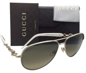 Gucci New GUCCI Sunglasses GG 4239/N/S 0JKED Ivory White & Gold Frame w/Brown Gradient