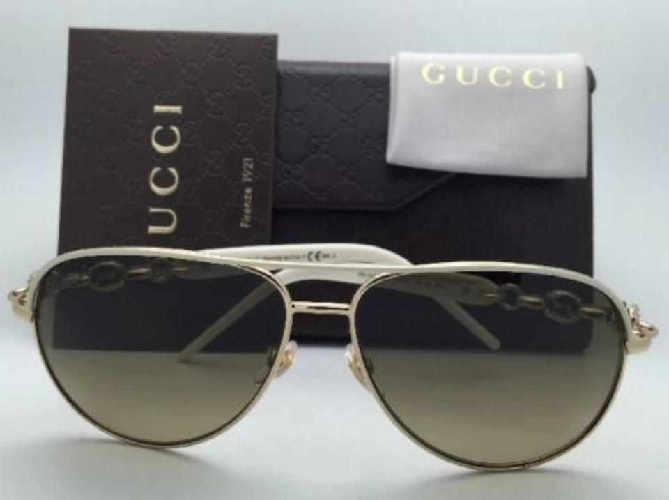 6d9a0a59c09 Gucci Gg 4239 N S 0jked Ivory White   Gold Frame W Brown New 4239 N ...
