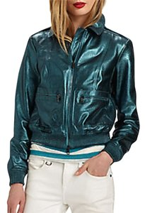 Burberry Military Moto Biker Leather Metallic Motorcycle Jacket