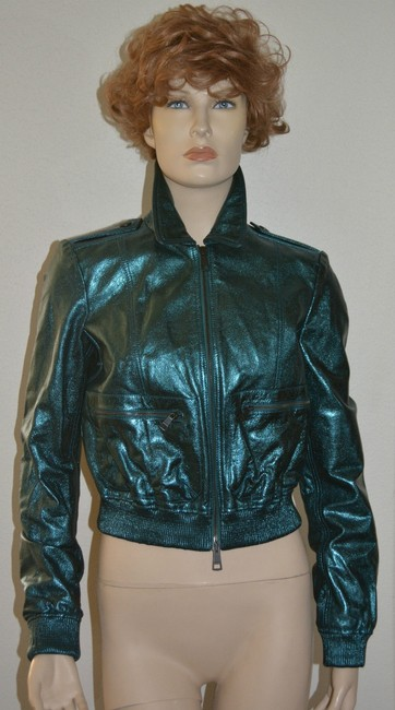 Burberry Military Moto Biker Leather Metallic Motorcycle Jacket Image 1