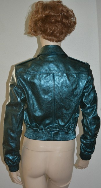 Burberry Military Moto Biker Leather Metallic Motorcycle Jacket Image 3