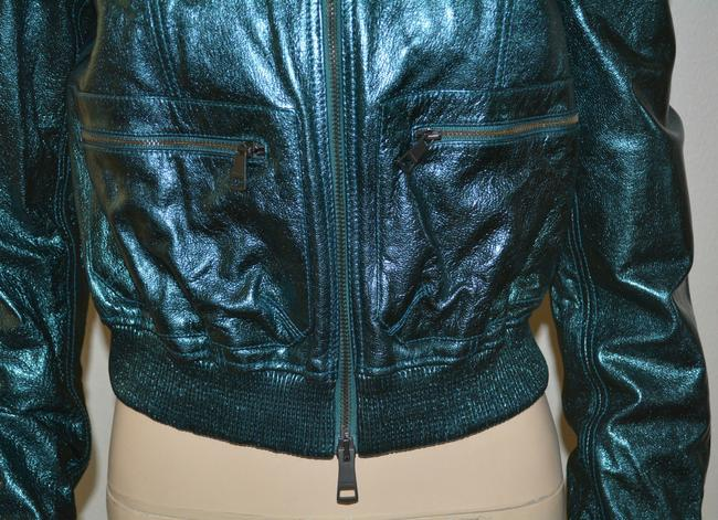 Burberry Military Moto Biker Leather Metallic Motorcycle Jacket Image 4