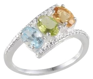 Other Genuine Sky Blue Topaz, Citrine and Peridot 3 Stone Sterling Silver Ring, 2.35cts
