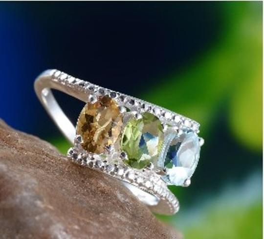 Other Genuine Sky Blue Topaz, Citrine and Peridot 3 Stone Sterling Silver Ring, 2.35cts Image 1