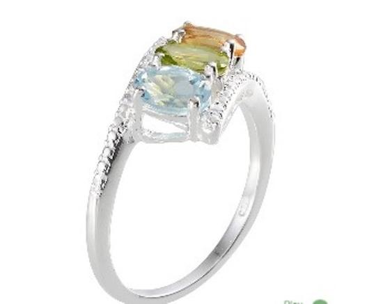 Other Genuine Sky Blue Topaz, Citrine and Peridot 3 Stone Sterling Silver Ring, 2.35cts Image 2