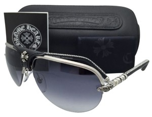 Chrome Hearts New CHROME HEARTS Sunglasses BALLS BS-BKL 65-14 Silver & Leather w/Grey Gradient
