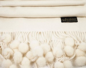 Other FUR BOBBLE WOVEN WHITE CASHMERE SHAWL