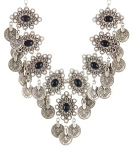 Chanour Jewelry Oval Stone Coin Bib Necklace
