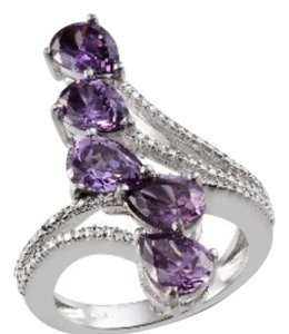 Simulated Purple Diamond (Pear) 5 Stone Ring 9.750 cts.