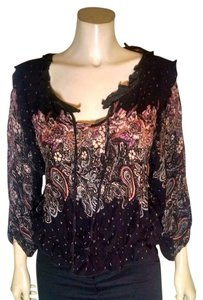 Free People Size Medium Top black, pink, green, gray