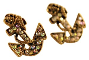 Other New Nautical Anchor Stud Earrings Antiqued Gold J1502