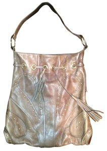 Le'Bulga Studded Fringe Drawstrings Leather Big Festival Floral Lining Hobo Bag