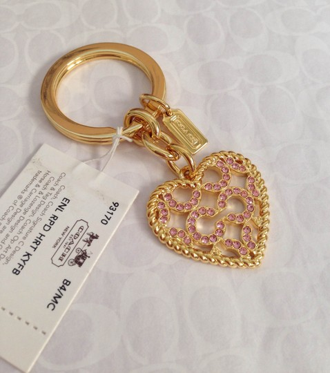Coach Coach Roped Pave Crystal Heart Keychain