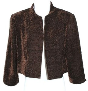 Karin Stevens Velvet Crop Jacket Top BROWN